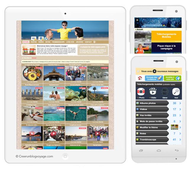 Exemple de carnet de voyage photo/vidéo sécurisé sur tablette ou mobile